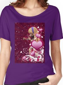 Pink hearts with floral and cupid Women's Relaxed Fit T-Shirt