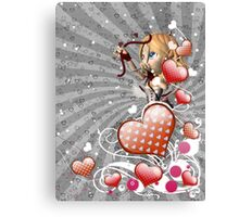 Pink hearts with floral and cupid 3 Canvas Print