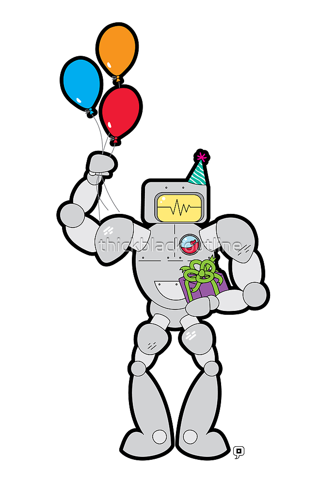 RadRobot Birthday by thickblackoutline