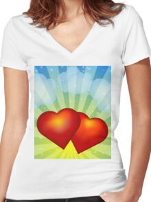 Red hearts Women's Fitted V-Neck T-Shirt