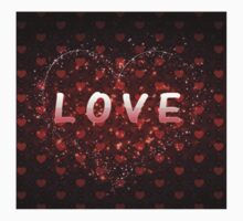 Red hearts pattern love word One Piece - Short Sleeve