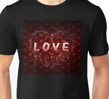 Red hearts pattern love word Unisex T-Shirt