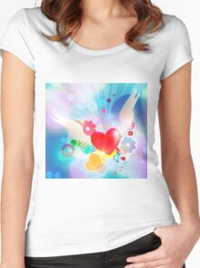 Red heart with angel wings Women's Fitted Scoop T-Shirt