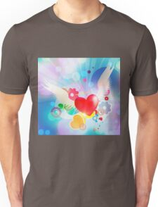 Red heart with angel wings Unisex T-Shirt