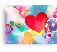 Red heart with angel wings 2 Canvas Print