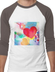 Red heart with angel wings 2 Men's Baseball ¾ T-Shirt