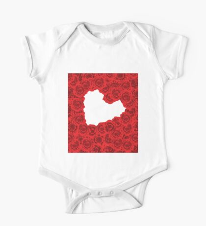 Red roses in a heart shape One Piece - Short Sleeve