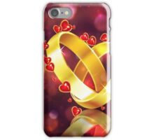 Romantic background with wedding rings iPhone Case/Skin