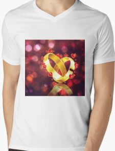 Romantic background with wedding rings Mens V-Neck T-Shirt