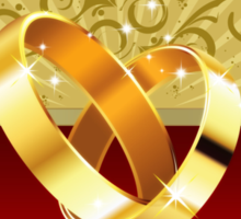 Romantic background with wedding rings 2 Sticker