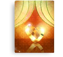 Romantic background with wedding rings 3 Canvas Print