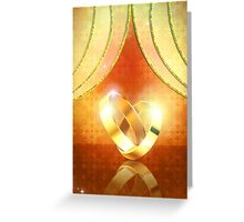 Romantic background with wedding rings 3 Greeting Card