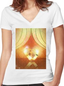 Romantic background with wedding rings 3 Women's Fitted V-Neck T-Shirt