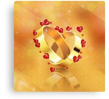 Romantic background with wedding rings 4 Canvas Print