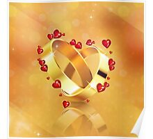 Romantic background with wedding rings 4 Poster