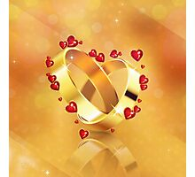 Romantic background with wedding rings 4 Photographic Print