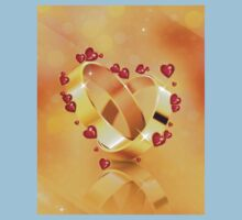 Romantic background with wedding rings 4 Kids Clothes