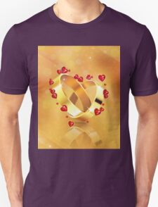 Romantic background with wedding rings 4 T-Shirt