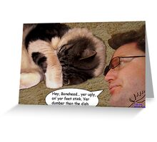 Putting the cat down Greeting Card