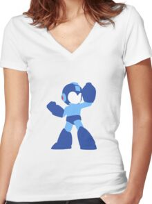 Megaman Vector Women's Fitted V-Neck T-Shirt
