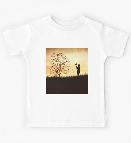 Silhouette of a girl with a heart and tree Kids Tee