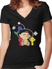 Olimar and Pikmin Vector Women's Fitted V-Neck T-Shirt