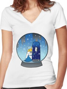 Poor Mr Ice King Women's Fitted V-Neck T-Shirt