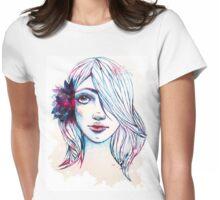 Curious Flower Girl Womens Fitted T-Shirt