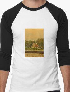 White River Lighthouse Station at Sunset, Whitehall, Michigan Men's Baseball ¾ T-Shirt