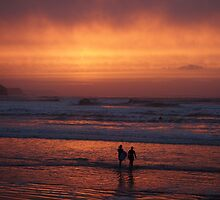 Bodyboarders at Sunset, Rossnowlagh, Co. Donegal by aerandirbaiza