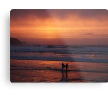 Bodyboarders at Sunset, Rossnowlagh, Co. Donegal Metal Print