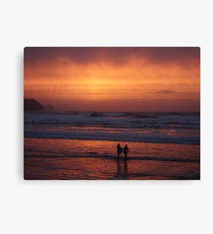 Bodyboarders at Sunset, Rossnowlagh, Co. Donegal Canvas Print
