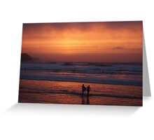 Bodyboarders at Sunset, Rossnowlagh, Co. Donegal Greeting Card