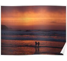 Bodyboarders at Sunset, Rossnowlagh, Co. Donegal Poster