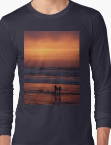 Bodyboarders at Sunset, Rossnowlagh, Co. Donegal Long Sleeve T-Shirt