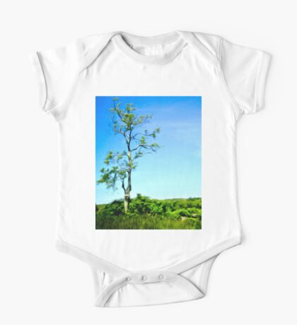 Painterly Lonely Tree on Hilltop One Piece - Short Sleeve