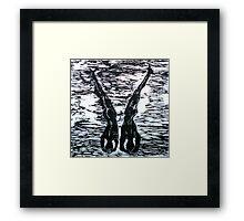 Yoga Couple 3 - Woodcut Framed Print
