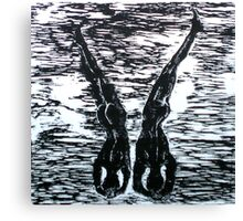 Yoga Couple 3 - Woodcut Canvas Print