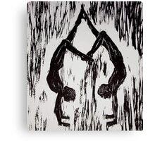 Yoga Couple 2 - Woodcut Canvas Print