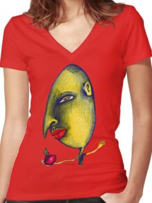 Man with Apple Women's Fitted V-Neck T-Shirt