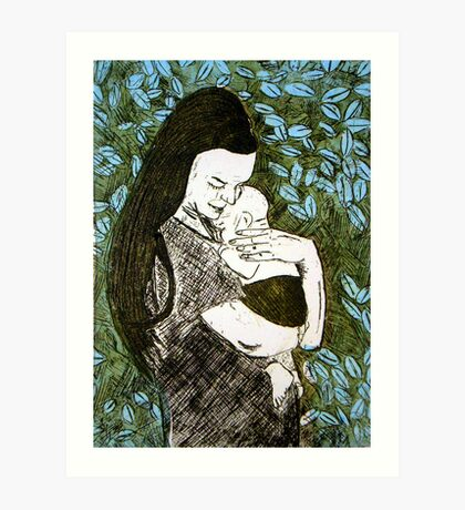 Mother and Son - Etching Art Print