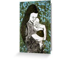 Mother and Son - Etching Greeting Card