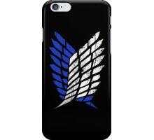 Attack On Titan - Survey Corps Logo (Blue Grunge v3) iPhone Case/Skin