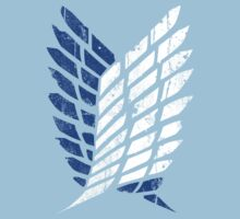 Attack On Titan - Survey Corps Logo (Blue Grunge v3) Kids Clothes