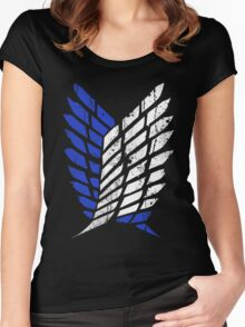 Attack On Titan - Survey Corps Logo (Blue Grunge v3) Women's Fitted Scoop T-Shirt