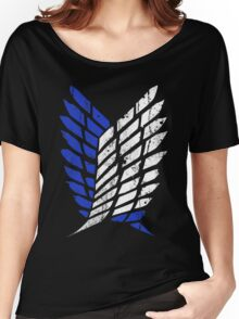 Attack On Titan - Survey Corps Logo (Blue Grunge v3) Women's Relaxed Fit T-Shirt