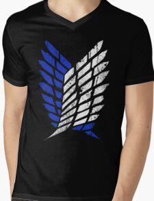 Attack On Titan - Survey Corps Logo (Blue Grunge v3) Mens V-Neck T-Shirt