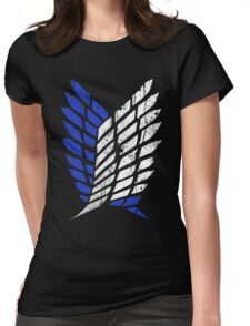 Attack On Titan - Survey Corps Logo (Blue Grunge v3) Womens Fitted T-Shirt