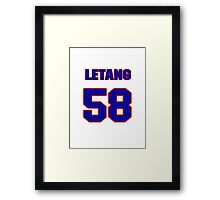 National Hockey player Kris Letang jersey 58 Framed Print