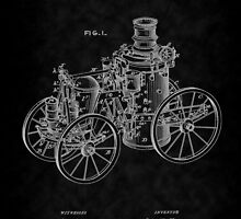 1896 Tarr Steam Fire Engine Patent Art-BK by Barry  Jones